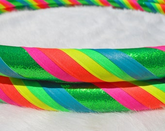 Custom Travel Hula Hoop - 'NEoN RAiNbOw MaNtRa' - ALL UV/BLaCkLiGhT ReAcTiVe - Made YOUR Way. Most Sold Pro Hoops on Etsy