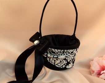 Waverly Black and Ivory Damask Bridal Sash Flower Girl Basket with Pearl Button Accent....You Choose The Colors... Shown in black
