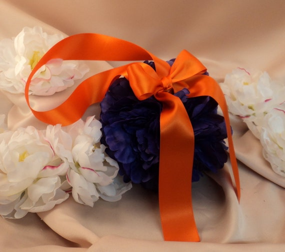 Set of 10 Deluxe 7 Inch Silk Peony Pomanders.. You Choose The Colors...shown in purple/orange