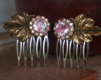 H109-110 Vintage Pink AB Gold Leaf Upcycled Rhinestone Hair Combs