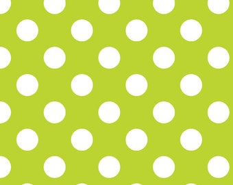 WINTER SALE - FLANNEL Medium Dots in Lime - 1 Yard - F360-32 - Riley Blake Designs