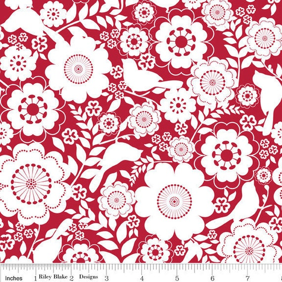 Song Bird - Floral in Red - sku C2861 - by Carina Gardner for Riley Blake Designs - 1 Yard