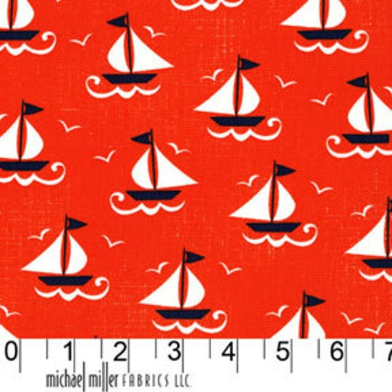 Ahoy Matey  -  Ship Shape in Clementine  - SKU DC5532 - by Michael Miller Fabrics - 1 Yard