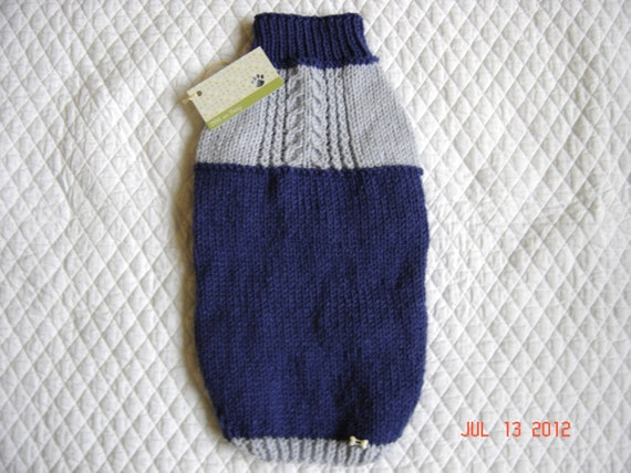 Woolies Dog Sweater Coat - Size MEDIUM - Cornish Cable - Blue
