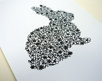 Flower Rabbit - PRINT (15.5cm x 20.5cm)