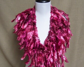 Fringe Binge Fringed Feathery Scarf Necklace in Fuchsia Plum Pink Ready to Ship Infinity Scarf Knotted Scarf Circle Scarf Crochet Multicolor