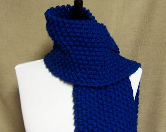 Men's or Unisex Scarf in Royal Blue - Ready To Ship Woman's Scarf Muffler Short Scarf