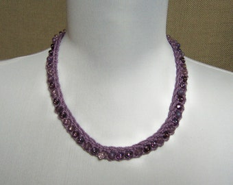 Beaded Necklace in Purple - Ready To Ship