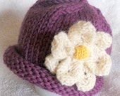 Magnolia Flower Hat - Infant Hand Knit Lavender - Peridot - Pink