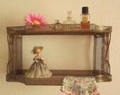 Shabby Metal Mesh Wall or Table Top Shelf