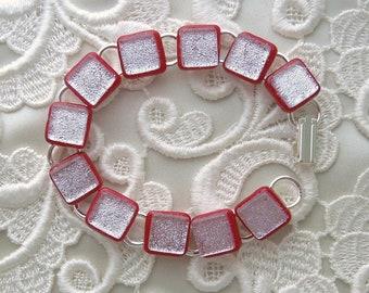 Dichroic Bracelet - Dichroic Glass - Dichroic Jewelry - Glass Bracelet - Red Bracelet X5751