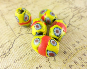 5 Antique Yellow Red Millifiore Barrel Glass Beads