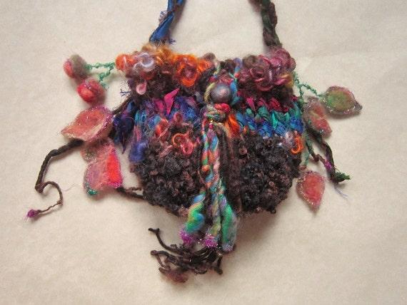 rustic handknit forest treasure bag - acorn gatherering
