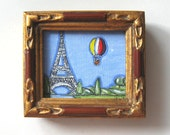Eiffel Tower Painting, miniature, Hot Air Ballon,  original painting, Paris, Paris flea market, shabby chic, acrylic, pen and ink