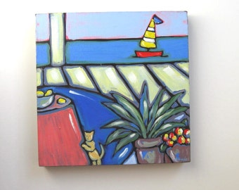 "SALE,  Acrylic  Painting on Canvas, Original  Still life, ""Cat at the Beach"" , Beach Cottage decor, gift idea"
