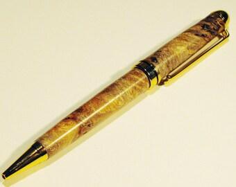 Hand Turned Twist Pen from Rare Afzelia Burl Wood