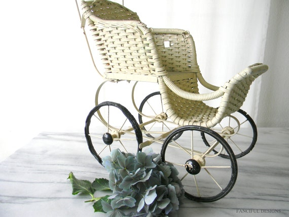 Old Adorable Wicker Ivory Doll Stroller 1920's