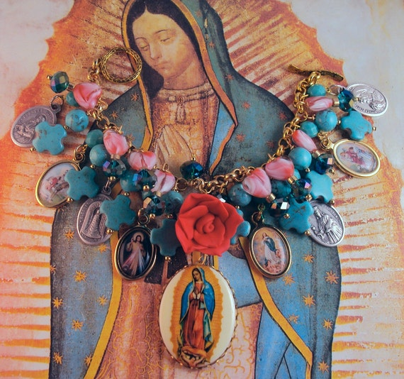 Catholic Virgin Mary Our Lady of Guadalupe and Saints Religious Medals Charm Bracelet