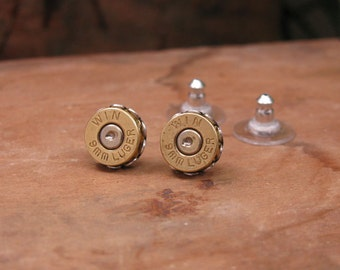 Bullet Jewelry - 9mm Brass Bullet Casing Stud Earrings - Small, Lightweight, and really pack a punch