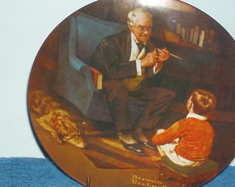 """Vintage 1982 Norman Rockwell """"The Tycoon"""" Collector's Plate by Knowles (Item 19)"""