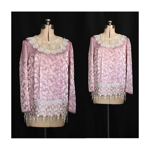 Vintage 70s Rose Garden Rondez Vous 70s Does 30s Gibson Girl Blouse