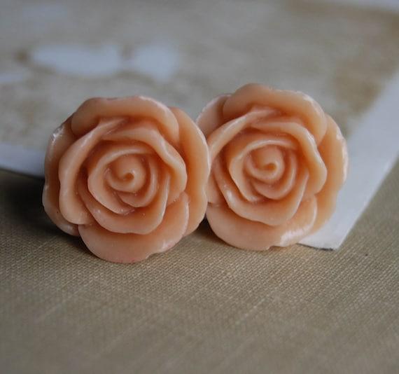 0g (8mm) Peach Rose Flower Plugs for Gauged Ears