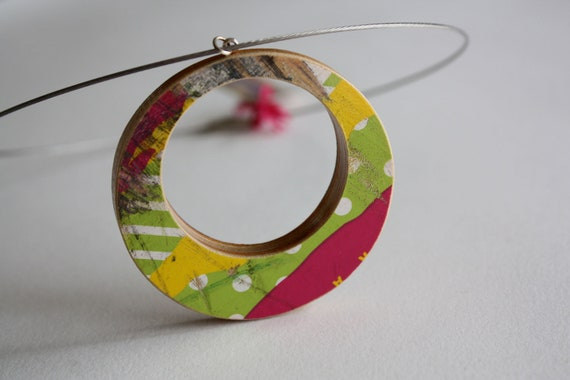 Recycled Skateboard Necklace-Neon Summer