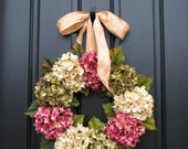 Spring Wreaths, Spring Sale Wreaths, Wreath, Etsy Wreaths, Spring Hydrangeas, Outdoor Wreath, Green Hydrangeas, Pink Hydrangeas