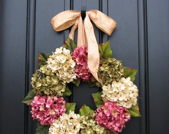SPRING WREATH, Spring Wreaths for Front Door, Wreaths, Wreath, Etsy Wreaths, Spring Hydrangea Wreath, Front Porch Wreath, Pink Hydrangeas