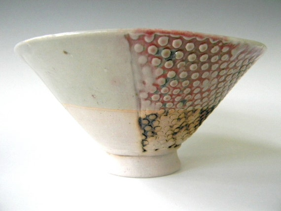 Hand Built Ice Cream Bowl - Modern Rustic Screen Pattern- Sale -  FREE US SHIPPING