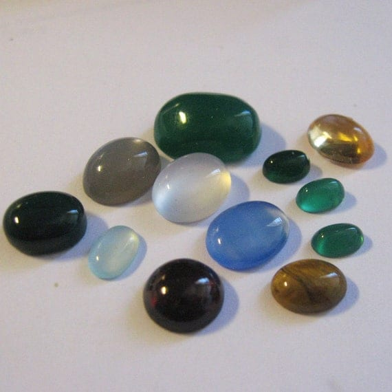 Group of 12 assorted natural gemstone cabochons for your jewelry projects