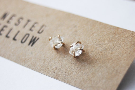 Limited Edition Genuine 5-6mm Herkimer Diamond and Gold Filled stud earrings