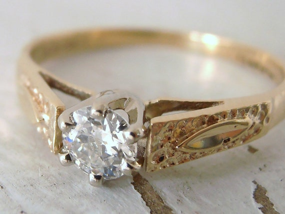 Vintage .21 carat Old Cut Diamond and Gold Engagement Ring