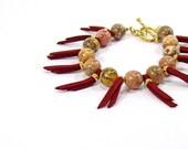 Burgundy Bracelet, Leopardskin Jasper, Vermeil Bracelet, Ethnic Jewellery