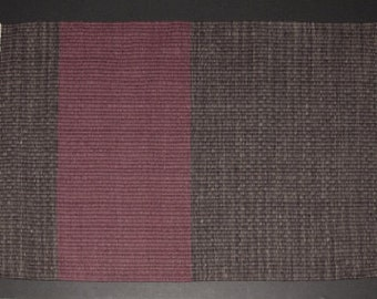 Handwoven Rug In Blocks of Burgundy and Brownish Gray