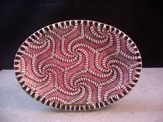 Ceramics, Art Pottery, Home Decor, Candy Bowl, Soap Dish, Jewelry Tray, Red and Black, by Dana Morton