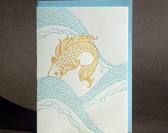 "Letterpress ""Waves"" Koi Card"