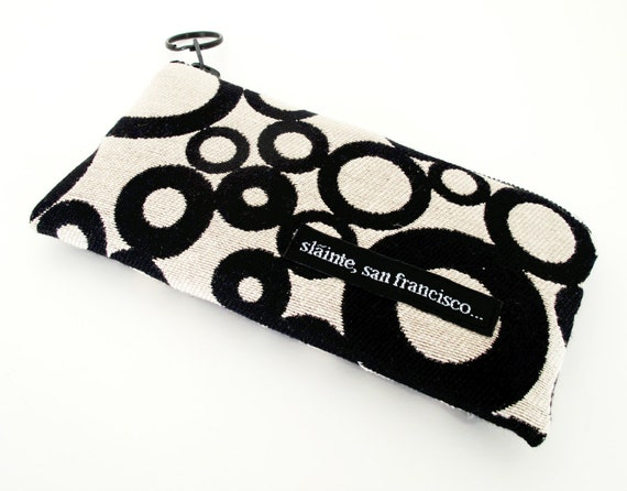 "Coin Purse, Mini Make Up Case, Clutch, Eye Glass Case in ""Black and White Bubbles"". Red lining. Made in America."