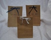 Customized kraft paper bags for candy at a wedding or birthday-Handstamped with Initials and CRYSTALS