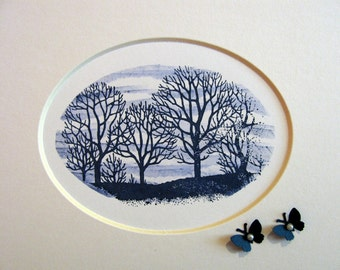 Inventory Clearance MATTED Midnight Blue Tree Landscape With Mini Butterflies Adorned with Pearls (Includes 5x7 Oval Mat as Shown)