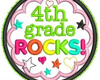 4th GRADE ROCKS  Applique Circle Scallop 4x4 5x7 6x10  Machine Embroidery Design school  INSTANT Download
