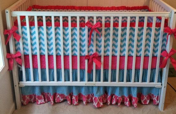 Baby Girl Crib Bedding Set Pink and Aqua Modern Ruffled