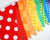Rainbow Birthday Party Decoration, Banner Bunting Flags, 1st Birthday EXTRA LONG -- in red, orange, yellow, green, blue, purple fabric flags