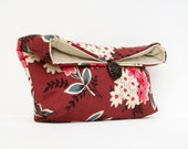 Makeup Bag, Bridesmaid Clutch, Ivory and Pink Floral on Red Clutch Purse, Great for Travel, Gift Under 25, Bridesmaid Gift