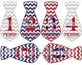 Little Man Monthly Milestone stickers- Boys monthly baby sticker- baby shower gift- Red, blue & gray chevron print neckties- BOY 134