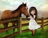 "Girl and Horse Print ""Kate"" Fine Art Giclee Print Medium Sized Giclee 8.5x11 or 8x10 0r 11x17"