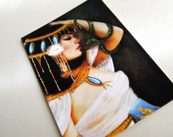 "ACEO/ATC Mini Fine Art Print -""Cleopatra and the Serpent""- Artist Trading Card 2.5x3.5 - Queen of the Nile River - Egyptian Legend"