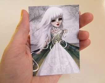 """ACEO/ATC Mini Fine Art Print """"Jeanne"""" Artist Trading Card 2.5x3.5 - Lowbrow Art Painting of  Rococo Woman in White Ghost Story"""