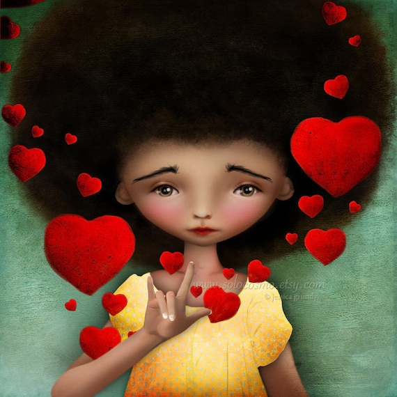 """Fine Art Print """"Gesture"""" ASL for I Love You Medium Size 8.5x11 or 8x10  African American Girl Sign Language - red hearts"""