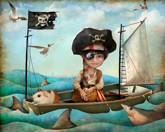 """Little Pirate Boy Art Print -""""Diego"""" - 8.5x11 or 8x10  Child's Room Fantasy Artwork - Nautical Theme - Sailor Boy and Shark - Blue Waters"""